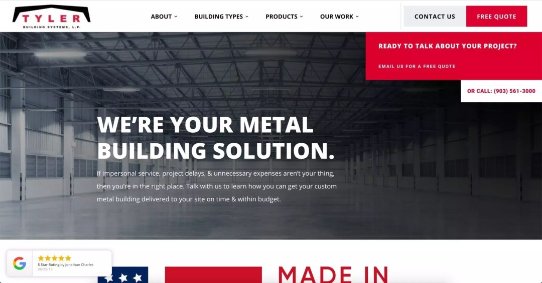 Web Design Project (Tyler Building Systems)