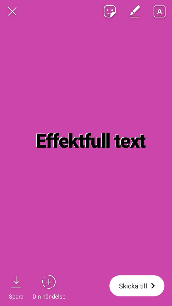 Instagram Stories effektfull text