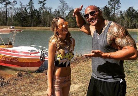 Dwayne 'The Rock' Johnson and Belinda on Baywatch set