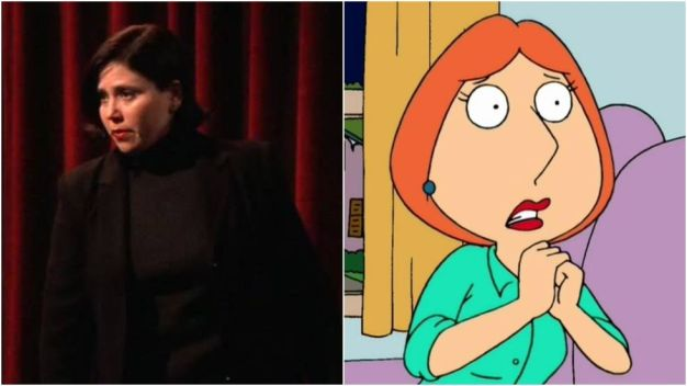 """The voice of Family Guy's Lois appeared in the fleshas a feminist theatre performer whoterrified Chandler with her opening outburst:""""Why don't you like me?!"""""""