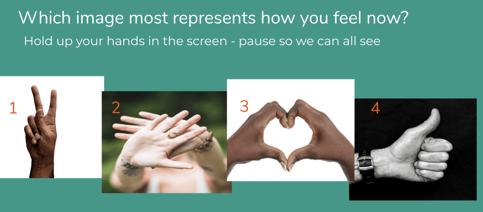 Image of a screen that is shared to give people a way to respond with a hand gesture to indicate how they feel. 1 is an okay sign. 2 is a stop sign with two hands. 3 is a heart sign made by two hands together and 4 is a thumbs up sign.