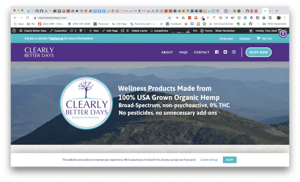 Clearly Better Days CBD Oil Ecommerce Homepage Screenshot