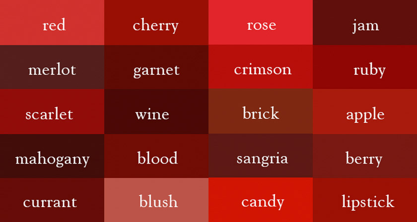 It S Wine Not Dark Red Here Are The Correct Names Of All Color Shades
