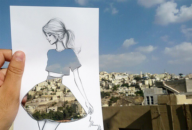 Fashion Cut-Out Sketches Completed Using Skies And Sceneries - 1