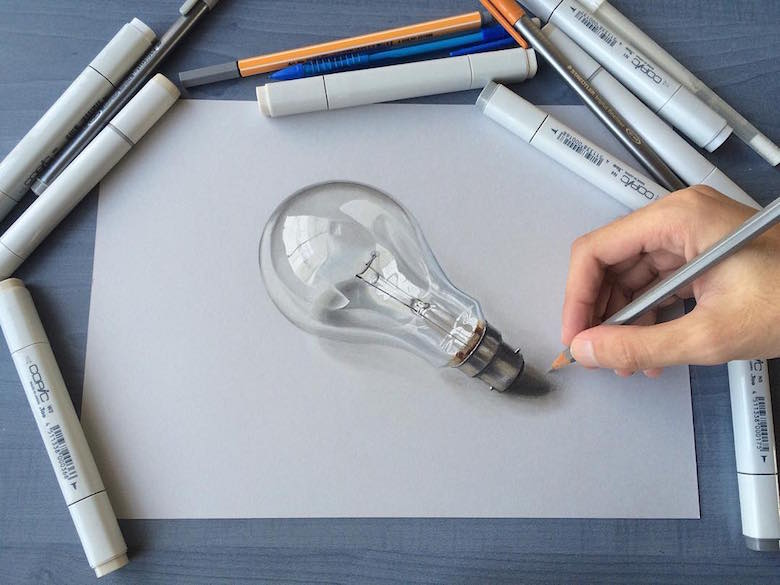 Hyperrealistic 3d drawings by Sushant Rane: Bulb - 3