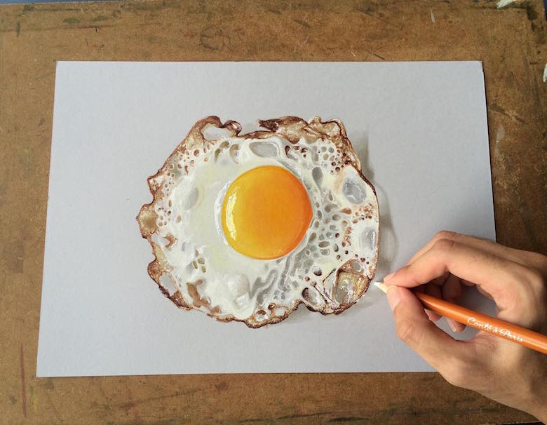 Hyperrealistic 3d drawings by Sushant Rane: Fried egg - 3