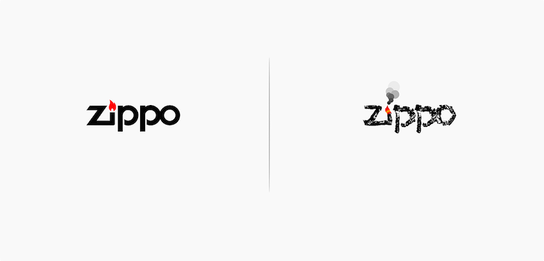 Famous logos affected by their products - Zippo
