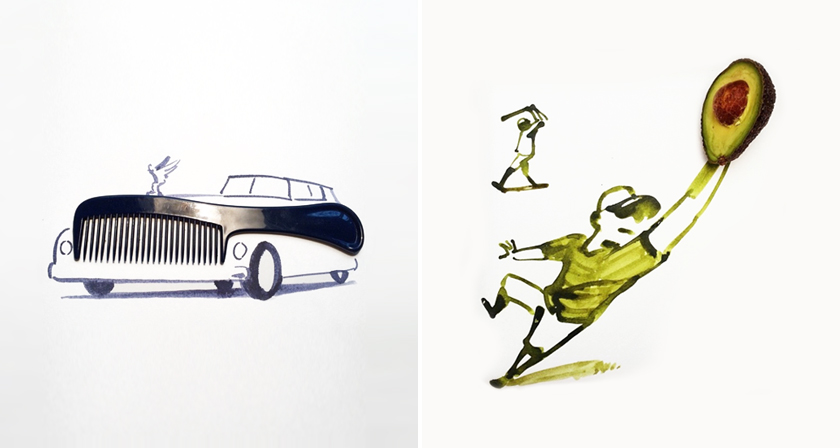 30 Clever Drawings Completed Using Everyday Objects