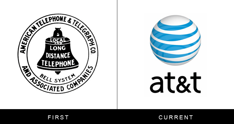 Original famous brand logos and now - AT&T