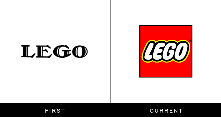 Original famous brand logos and now - Lego