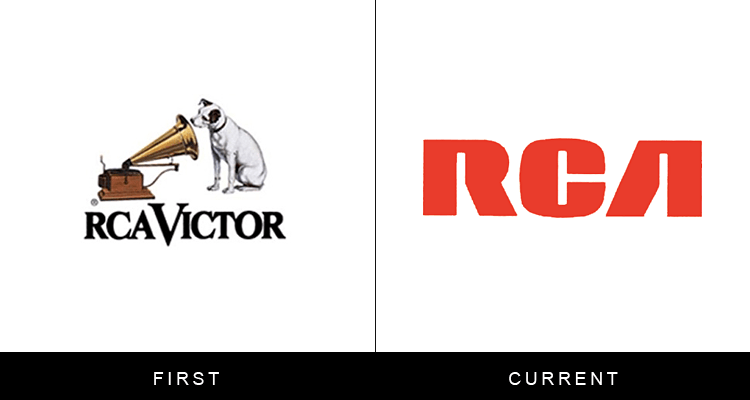 Original famous brand logos and now - RCA