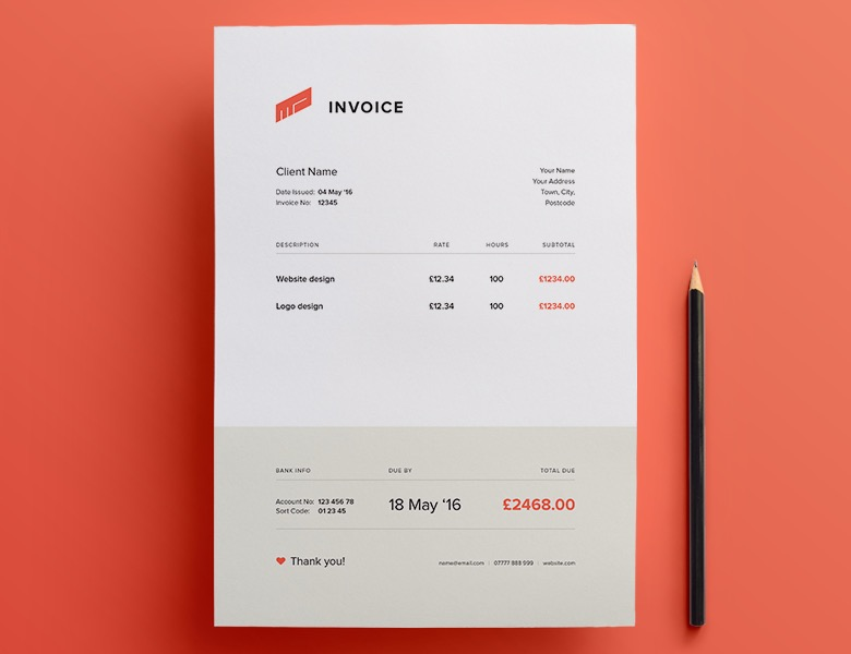 35 Creative Invoices Designed To Leave A Good Impression On Clients Creative invoice bill designs to impress clients   30