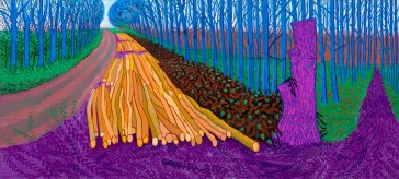 """""""WINTER TIMBER"""" 2009 OIL ON 15 CANVASES (36 X 48"""" EACH) 108 X 240"""" OVERALL © DAVID HOCKNEY PHOTO CREDIT: JONATHAN WILKINSON"""