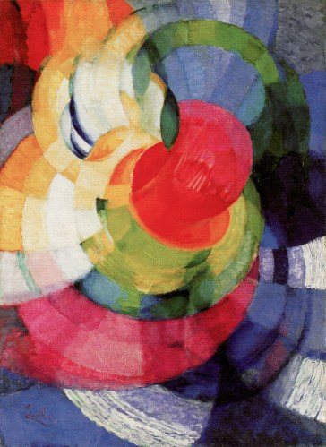"""František Kupka, Disks of Newton, Study for Fugue in Two Colors, 1911-12, o/c, 39-1/2 x 29"""", 77.5 x 73.6 cm, Philadelphia Museum of Art. Source: Painting the Universe-Kupka-Pioneer in Abstraction."""