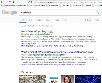 search engine resulsts page