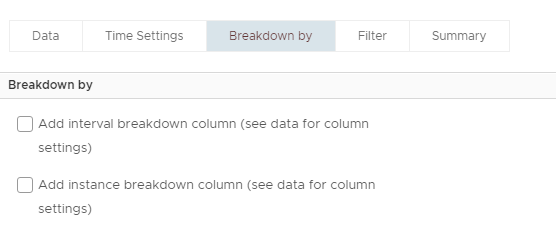 Machine generated alternative text: Data  Breakdown by  Time Settings  Breakdown by  Filter  Summary  Add interval breakdown column (see data for column  settings)  Add instance breakdown column (see data for column  settings)