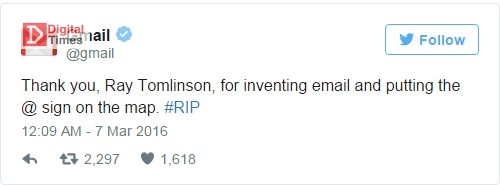 ray tomlinson sad twitt Gmail