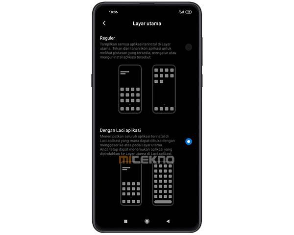 Menggantikan Swipe Up Layar di Xiaomi dengan Laci Aplikasi
