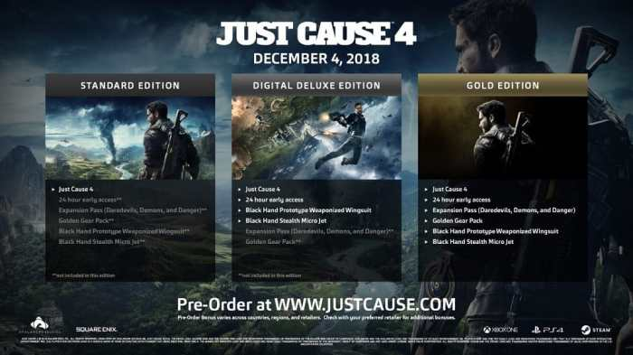 Just Cause 4 Release Date Pre-Order
