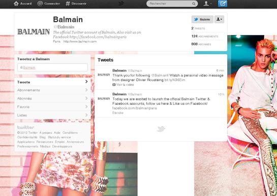 Les Tweets de Laura Mercier et Balmain sur Vogue