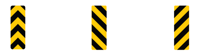 Three road signs that denote an obstruction ahead