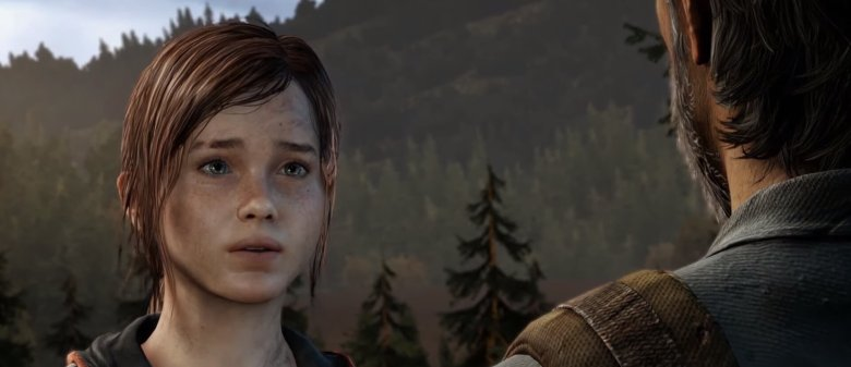 Joel and Ellie talking in the forest in The Last of Us