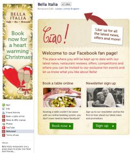 Bella Italia Facebook page