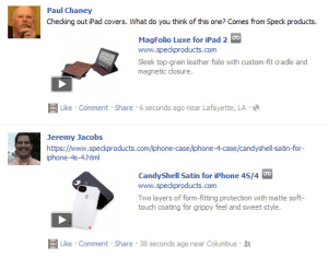Speck enables shopping via Facebook news feed