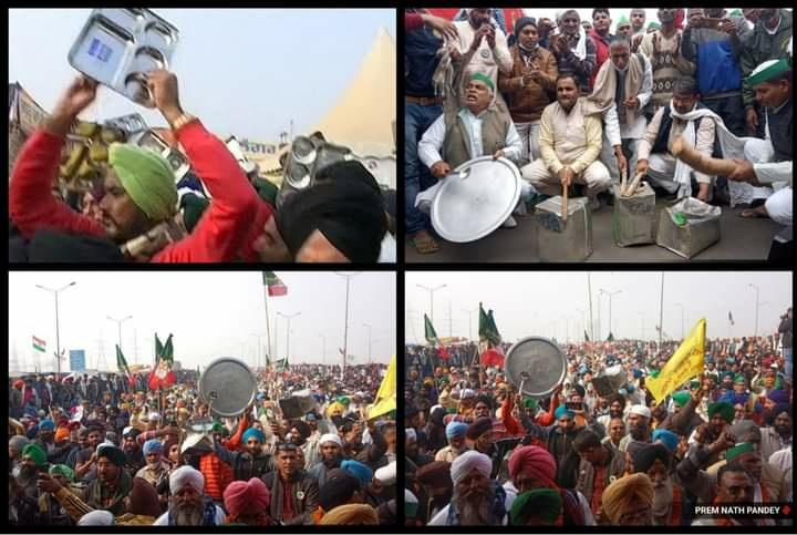 """Protesting Farmers Bang Thalis As PM Modi Addresses """"Mann Ki Baat"""""""