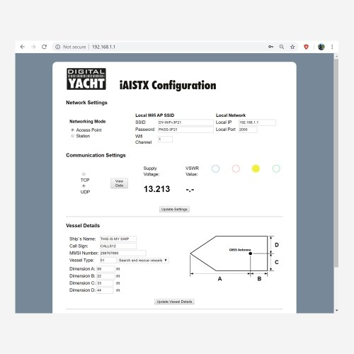 Interface de l'iAISTX pour le configurer