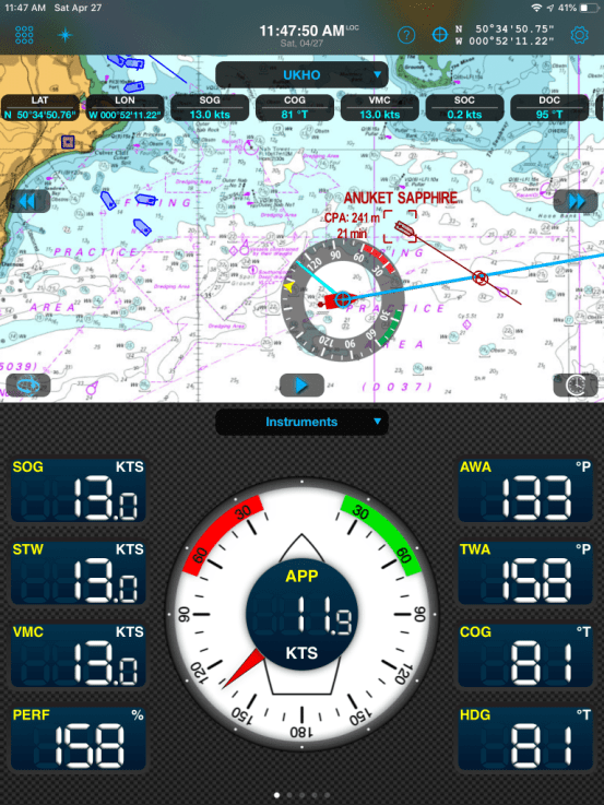Display of AIS targets and CPA alarm on Weather4D