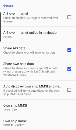 AIS settings in SailGrib