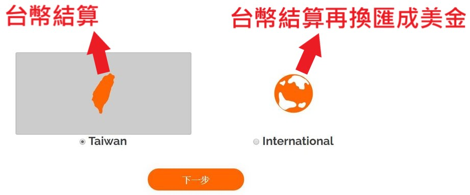 iChannels 註冊畫面 Taiwan and international 的差別