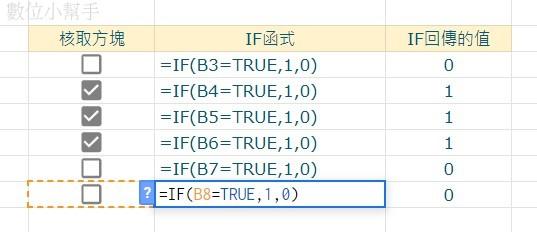 IF函數判斷核取方塊