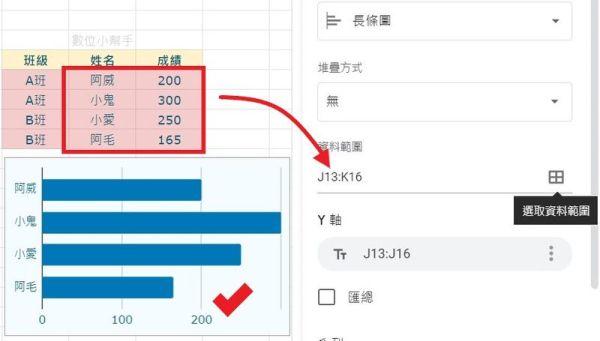 圖片編輯器選取圖表的資料範圍
