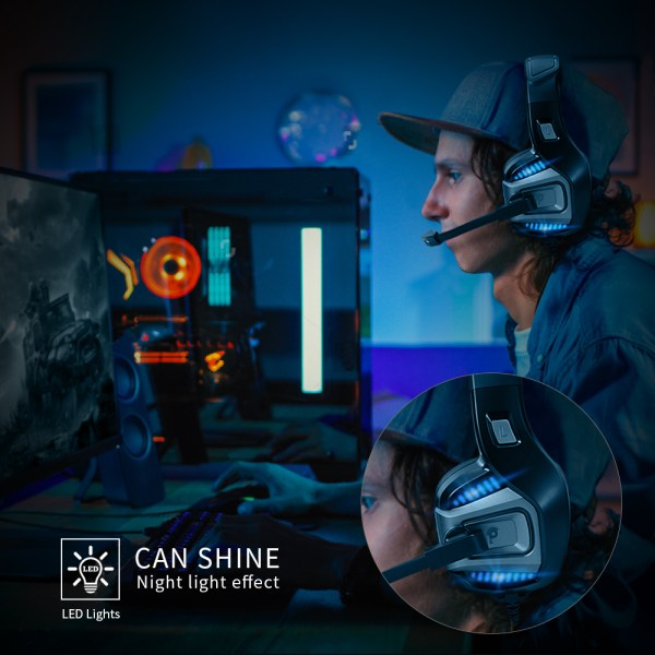 Professional Gamer Headset Led Light 3D Wired Headphone For PS4 PS5 Fifa 21 Xbox Laptop PC 2