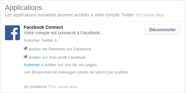 Autorisations Twitter sur Facebook