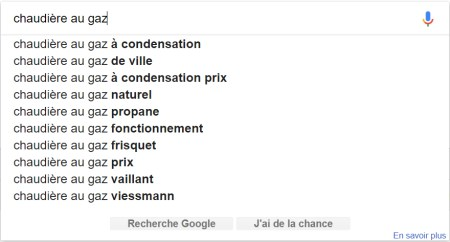 Longue traine completion Google