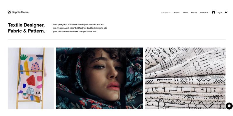 Exemple de site de designer textile
