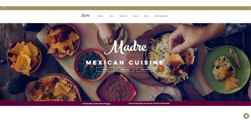 Exemple de site de restaurant