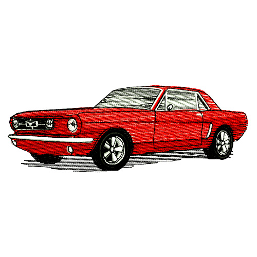 1965 Ford Mustang Hardtop Embroidery Design