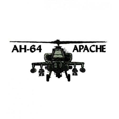 AH 64 Apache Helicopter Military Embroidery Design