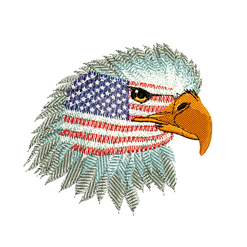 American Bald Eagle with US Flag Embroidery Design