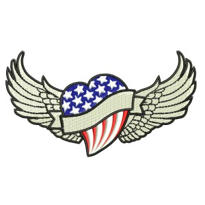 American Winged Flag Heart Embroidery Design