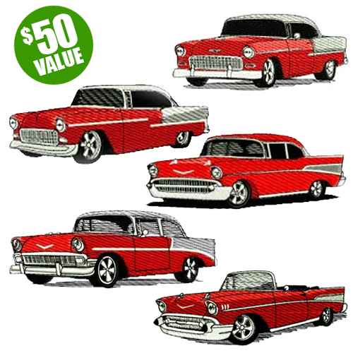 Chevy BelAir Bel Air Embroidery Design Discount Value Pack