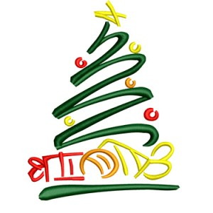 Christmas Tree Symbol Abstract Embroidery Design