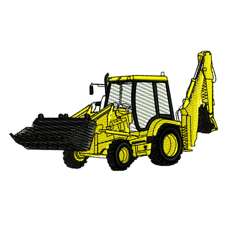 Construction Equipment Backhoe Embroidery Design
