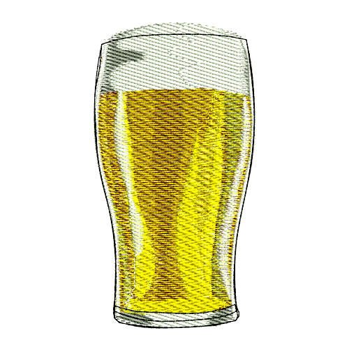 Draft Beer Glass Embroidery Design