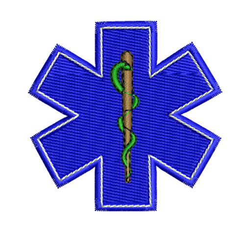 EMS Star of Life SOL Symbol Embroidery Design