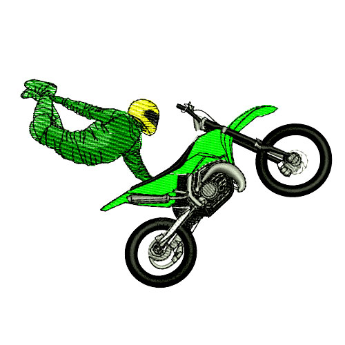 Extreme Motocross Racing Embroidery Design